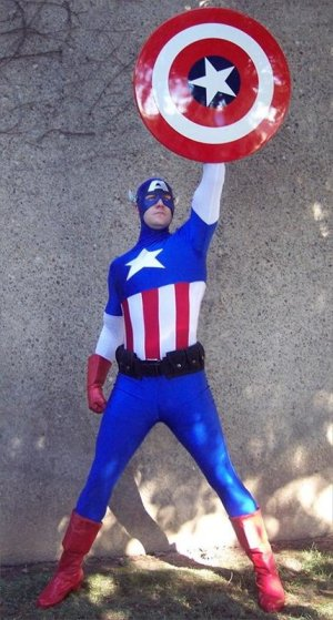 Captain America raise shield