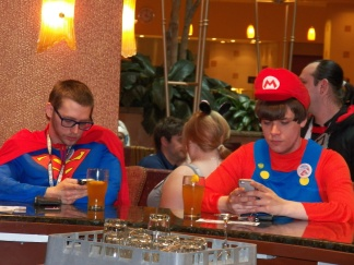 Superman meets Super Mario in a bar...