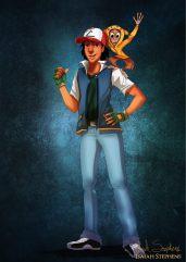 Aladdin and Abu as Ash Ketchum and Pikachu